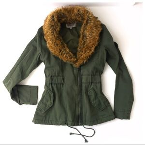 Urban Outfitters Military Jacket Faux Fur Collar S